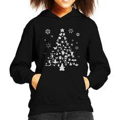 Pokemon Christmas Tree Silhouette White Kid's Hooded Sweatshirt