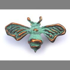 Bee Brooch with blue green copper patina by EarthlyCreature