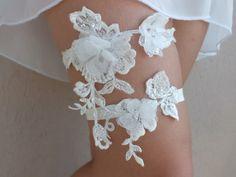 Ivory 3D floral garter, Wedding Garter, Handmade garters, XMAS gifts