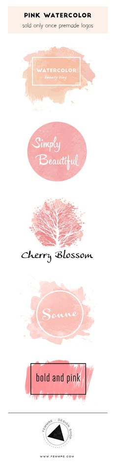 Pink Watercolor Premade Logos (sold only once) | FEMMRE - Chic Premade Brand…