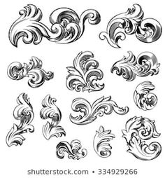 Set of vector vintage baroque engraving floral scroll filigree design. Set of vector vi Leaves Illustration, Engraving Illustration, Art And Illustration, Art Illustrations, Filigrana Tattoo, Baroque Frame, Scroll Pattern, Metal Engraving, Leather Carving