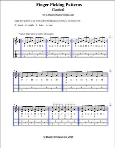 Finger Picking Patterns: Classical Discover Guitar Online, Learn to Play Guitar Guitar Tabs And Chords, Guitar Strumming, Guitar Tabs Songs, Music Theory Guitar, Fingerstyle Guitar, Guitar Sheet Music, Music Tabs, Dj Music, Music Stuff