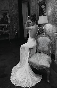 Low back and lace - the signature of Inbal Dror design