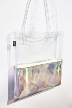 Holographic Tote Half Clear Half Transparent by pingypearshop