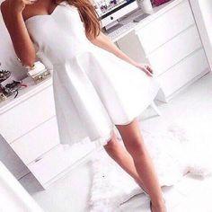perfect white strapless skater dress