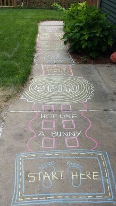 Sidewalk obstacle course with chalk