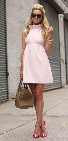 preppy ruffled pink dress.