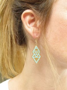 Ohrhänger im Boho-Stil: Ohrringe aus Glasperlen in türkis und gold / boho earrings with glas beads in turquoise and gold made by ilou via DaWanda.com