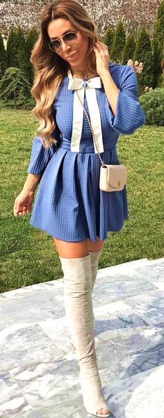 #summer #outfits Blue Bow Dress  White Open Toe OTK Boots  - more on http://ift.tt/2rynWxj
