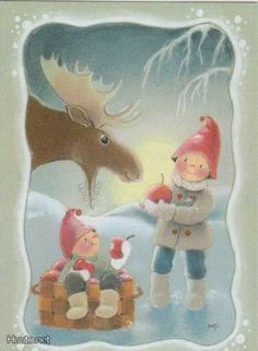 Gnomes and Moose. Swedish Christmas, Christmas Gnome, Scandinavian Christmas, Winter Christmas, Vintage Christmas, Illustration Noel, Winter Illustration, Christmas Illustration, Illustrations