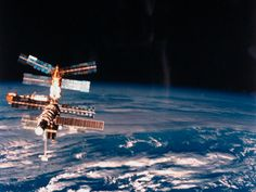 Exterior View of 10-Yr-Old Russian Space Station Mir Floating Above Earth (Mir was launched in 1986 and deorbited in 2001)