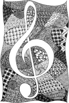 Treble Clef Tangle - I like the quilted look of this.
