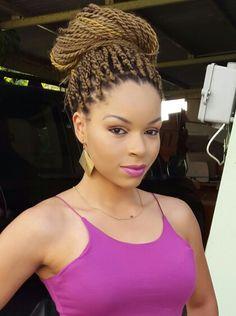 Charming Blonde Senegalese Twist Bun