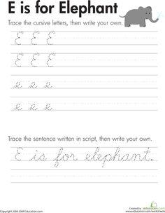 Third Grade Handwriting Worksheets: Cursive Handwriting: 'E' is for Elephant Cursive Letters Worksheet, Cursive Writing Practice Sheets, Teaching Cursive, Handwriting Practice Worksheets, Improve Handwriting, Handwriting Analysis, Learn Cursive, Writing Cursive, Tracing Letters