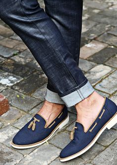 Navy Tassel Boat Shoes - Shoes - Accessories