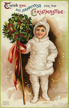 Vintage Christmas Postcard - I'd like to print this on canvas and ...