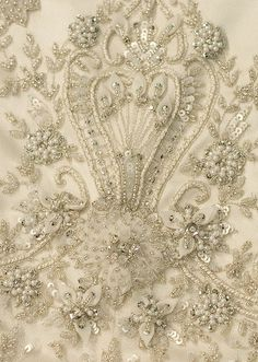 beading on fabric | Hand beaded fabric | Haute Couture Embroidery | Pinterest