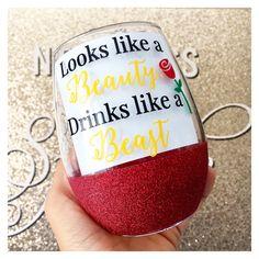 Looks Like A Beauty Drinks Like A Beast Glitter Wine Glass - Beauty And The Beast Wine Glass - Belle Wine Glass - Beauty And The Beast Mug - Cricut - Glitter Wine Glasses, Diy Wine Glasses, Glitter Cups, Painted Wine Glasses, Decorated Wine Glasses, Glitter Vinyl, Pink Glitter, Wine Glass Sayings, Wine Glass Crafts