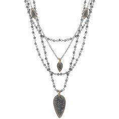 Lucky Brand Pave Dream Multi-Layer Necklace ($69) ❤ liked on Polyvore featuring jewelry, necklaces, gold, layered jewelry, gold tone jewelry, tear drop necklace, teardrop necklace and glitter jewelry