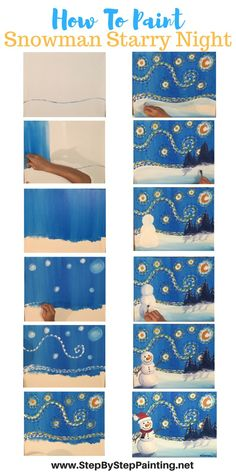 How To Paint Snowman Starry Night - Tracie's Acrylic Canvas Tutorials. Step by step painting for the absolute beginner of all ages. art How To Paint A Snowman Starry Night - Step By Step Painting Canvas Painting Tutorials, Diy Painting, Painting Canvas, Beginner Painting, Fabric Painting, Mery Crismas, Draw Tutorial, Winter Art Projects, Christmas Art Projects