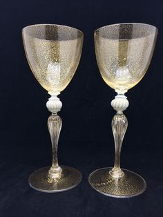 Pair of antique Murano glass toasting goblets with gold mica flecks by Salviati, Venice. Italy c. 1930