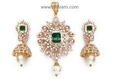 Totaram Jewelers: Buy 22 karat Gold jewelry & Diamond jewellery from India: 18K Rose Gold Polish '2 in 1' Diamond Necklace Cum Pendant & Earrings Set with Ruby , Onyx & South S