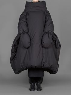 Sculptural Fashion - black oversized coat with soft padded volume // Yohji Yamamoto
