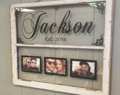 Vintage Window Two Pane Family Name Personalized Picture Frames