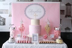 Pink themed first communion/christening dessert and candy table! We can recreate this for you! http://www.creativeambianceevents.com/ Check out our blog http://www.creativeambianceevents.com/#!blog/c1nl