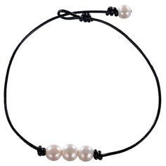 Areke Cultured Freshwater Pearl Choker Necklaces for Women - 3 Beads On Leather Cord Handmade Jewelry Style Black 15in -- More info could be found at the image url.