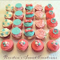 Baby shower cupcakes in aqua, coral and pink...would also be great for a bridal shower or birthday party!  Check out Kristin's Sweet Creations on Facebook.