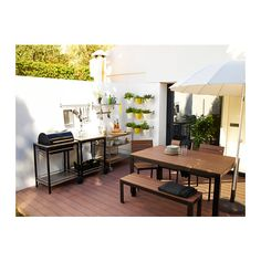 FALSTER Table, outdoor - black/brown - IKEA | $239 table only | $100 bench seat
