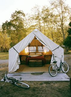"""Glamping ... tent and bikes """"My kind of camping!!"""