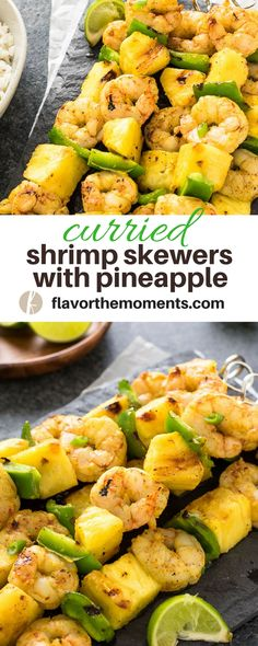 Curried Shrimp Skewers with Pineapple are marinated coconut curry shrimp skewered with fresh pineapple and bell pepper. They're the perfect sweet and savory appetizer or meal! {GF, DF} via @FlavortheMoment #shrimp #curry #pineapple #skewers #kebabs #recipe #glutenfree #dairyfree