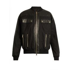 Balmain Leather-panelled cotton-blend bomber jacket ($545) ❤ liked on Polyvore featuring men's fashion, men's clothing, men's outerwear, men's jackets, black, mens zip jacket, mens real leather jackets, mens leather jackets, mens leather flight jacket and balmain mens jacket