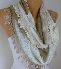 Fabric Knitted Lace Scarf    Plush Shawl Scarf  Flower by fatwoman, $25.00