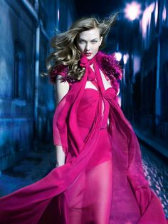 Karlie Kloss in pink Gucci - Harper's Bazaar Australia, Sept. 2011.