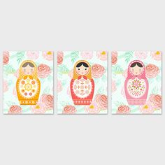 Matryoshka Nursery Printable Art Prints Set of 3 Matryoshka