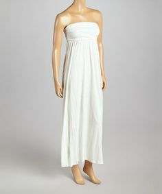 Another great find on #zulily! White Ruched Maxi Dress by Casa Lee #zulilyfinds