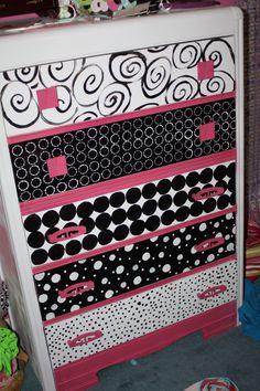 painted dresser, black pink white