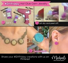 Hot Glue Gem Jewelry - Create custom jewelry with hot glue sticks, micro beads and glitter.
