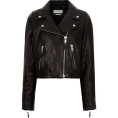 Isabel Marant Étoile Black Leather Barry Cropped Jacket ($340) ❤ liked on Polyvore featuring outerwear, jackets, coats & jackets, coats, leather jacket, genuine leather jackets, logo jackets, cropped leather jacket, asymmetrical zipper jacket and long sleeve jersey