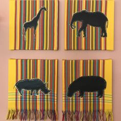When I visited South Africa, I wanted to incorporate the magnificent wildlife that I saw and the vibrant colors of Africa, into my artwork. This was what I came up with. A collage of 4 canvasses wrapped in kikoi with African animals in faux leather.