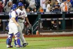 CrowdCam Hot Shot: New York Mets relief pitcher LaTroy Hawkins and catcher Travis d'Arnaud celebrate the win against the Miami Marlins at Citi Field. Mets won 4-3. Photo by Anthony Gruppuso
