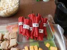 TNT licorice and decorations.  Squares on wall in lieu of building game?  Follow redirect, search for minecraft, choose top link.
