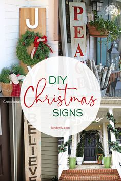 Cute and festive christmas sign ideas that will liven up any porch! So fun and they make such a big impact! Lots of great ideas! Holiday Signs, Christmas Signs, All Things Christmas, Christmas Crafts, Holiday Decor, Christmas Ideas, Christmas 2019, Outdoor Christmas Tree Decorations, Mini Christmas Tree