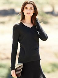 A sleek, polished layering essential, the v-neck pullover is full-fashion, fine gauge knit of weightless pima (60%) and modal (40%).