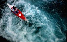 Elise Nicholas of Switzerland competes in the women's kayak (K1) canoe slalom heats
