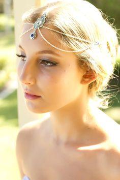 Weddings Bridal Headpiece Wedding Headpiece Bridesmaid Accessory Formal Accessory Prom Head Jewelry Headpiece Chain Headpiece Headdress Blue