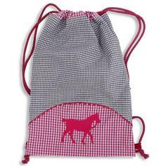 Turnbeutel mit kontrast Futter und gesticktem Pferd, als Rucksack zu tragen